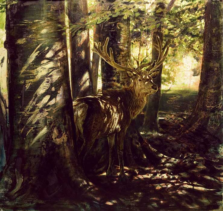 Robert Schoeller Painting: In the Forest's Shadow Wildlife Painting TH014