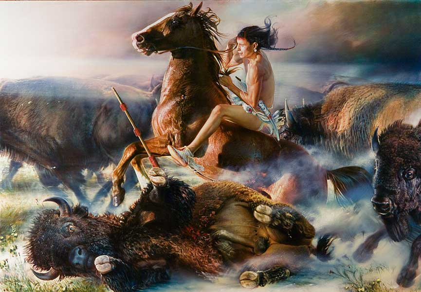 Robert Schoeller Painting: Buffalo Hunt 2 Western Painting TH009