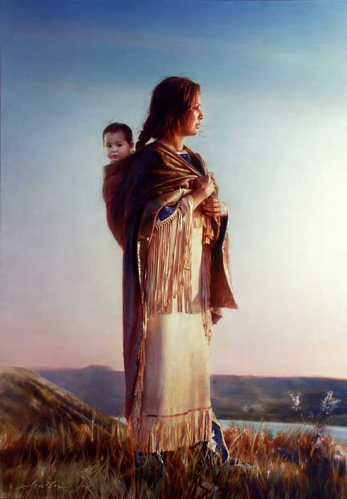 Robert Schoeller Painting: Sacagawea Western Painting TH008
