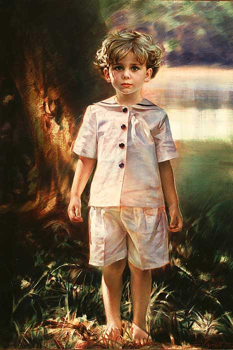 Robert Schoeller Painting:  Little Boy Portrait 099