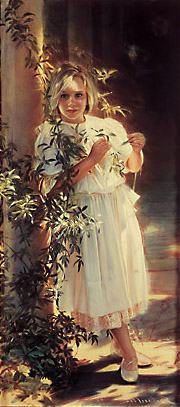 Robert Schoeller Painting: Little Girl Portrait Little Girl Portrait 087