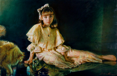 Robert Schoeller Painting: Little Girl Portrait Little Girl Portrait 166